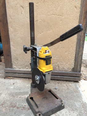 fabricated cutoff saw in shed